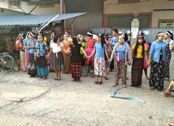 myanmar kadın işçiler grevi